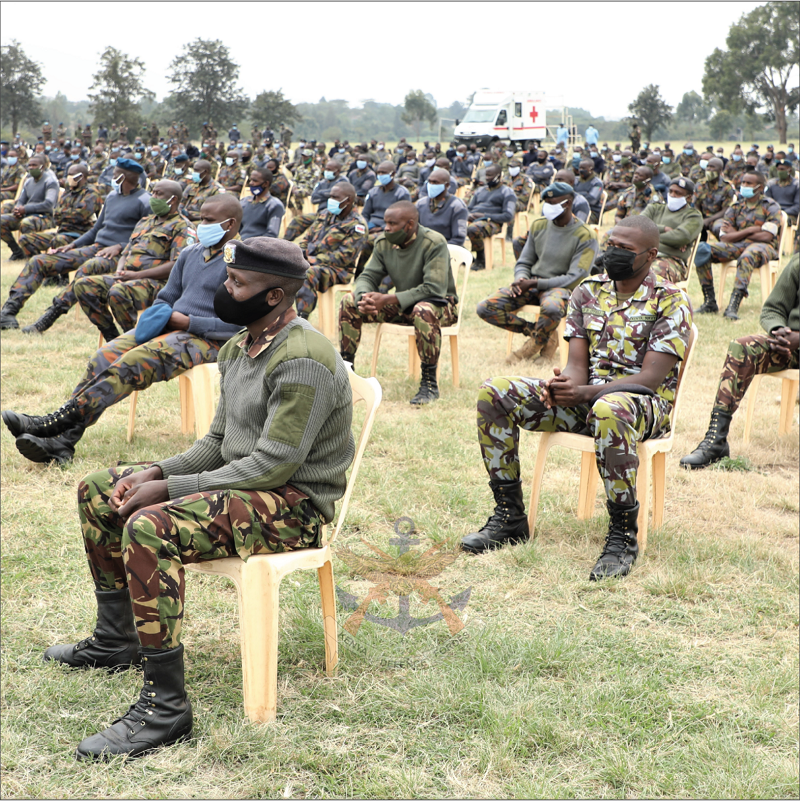 KDF personnel listening to CDF's Speech at Moi Air Base.