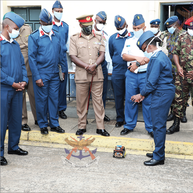 Chief of the Defence Forces General Robert Kibochi and other senior officers being shown a Remote Sensing IED Detecting Robot at Moi Air Base.